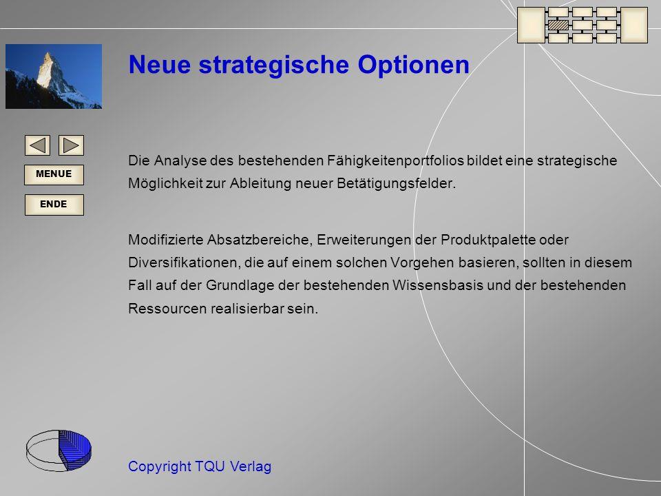 ENDE MENUE Copyright TQU Verlag Neue strategische Optionen Die Analyse des bestehenden Fähigkeitenportfolios bildet eine strategische Möglichkeit zur Ableitung neuer Betätigungsfelder.