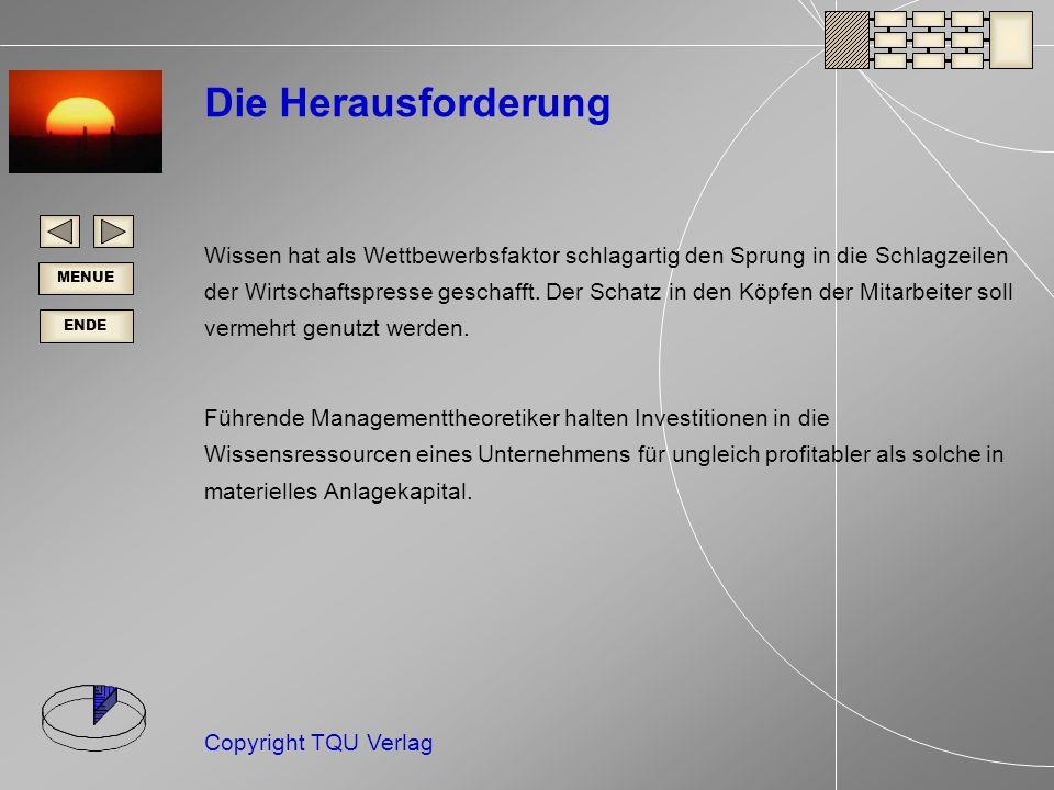 ENDE MENUE Copyright TQU Verlag Wo sind die Zentren der Wissensentwicklung Ihres Unternehmens.