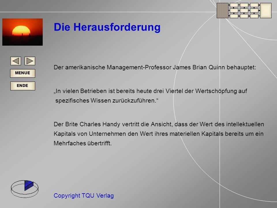 ENDE MENUE Copyright TQU Verlag Kernkompetenzen Der Kernkompetenzen-Ansatz ist in der Managementpraxis auf große Resonanz gestoßen.
