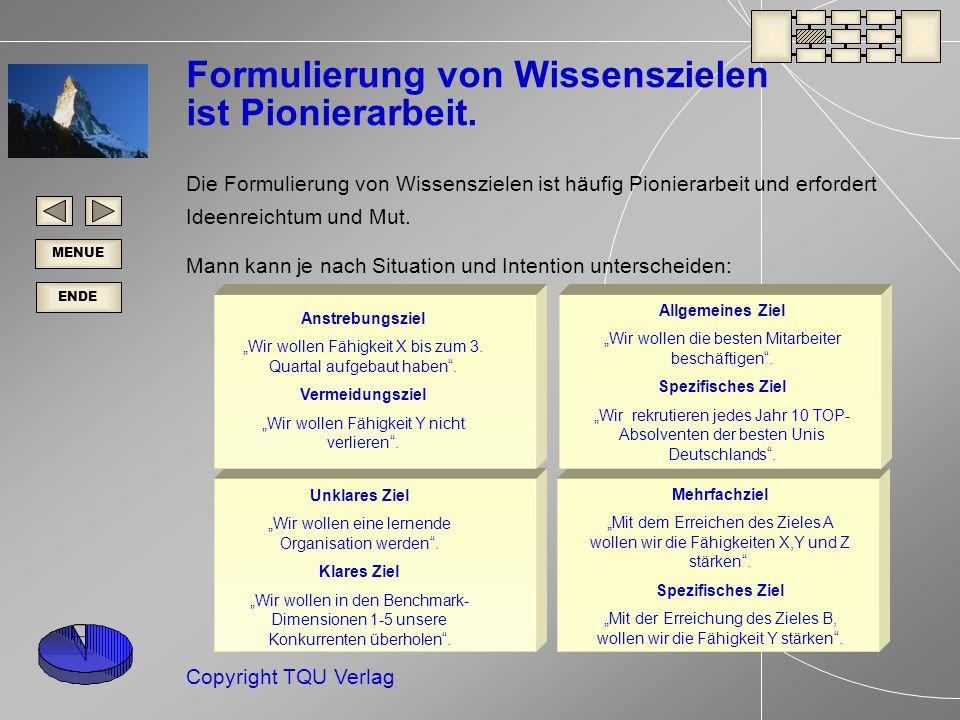 ENDE MENUE Copyright TQU Verlag Unklares Ziel Wir wollen eine lernende Organisation werden.