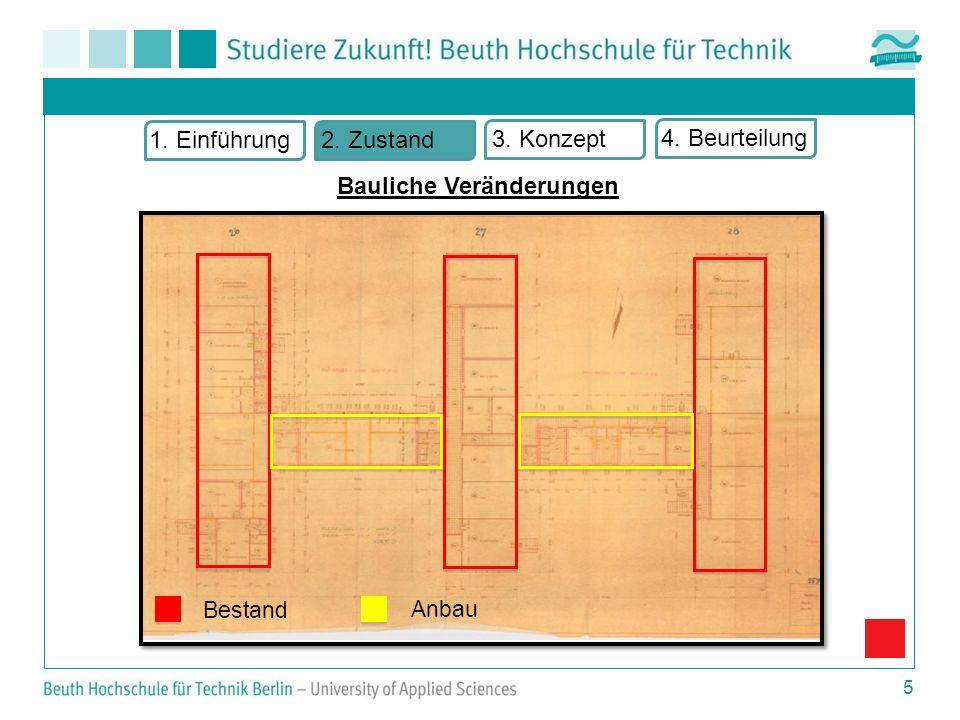 5 Bestand Anbau 1. Einführung2. Zustand 3. Konzept 4. Beurteilung Bauliche Veränderungen