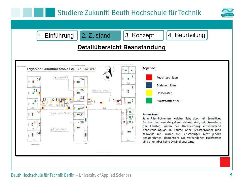 9 1. Einführung2. Zustand 3. Konzept 4. Beurteilung Übersicht Bauschäden