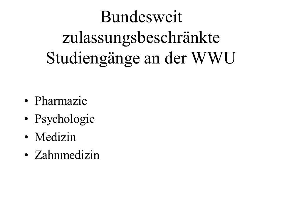 Bundesweit zulassungsbeschränkte Studiengänge an der WWU Pharmazie Psychologie Medizin Zahnmedizin