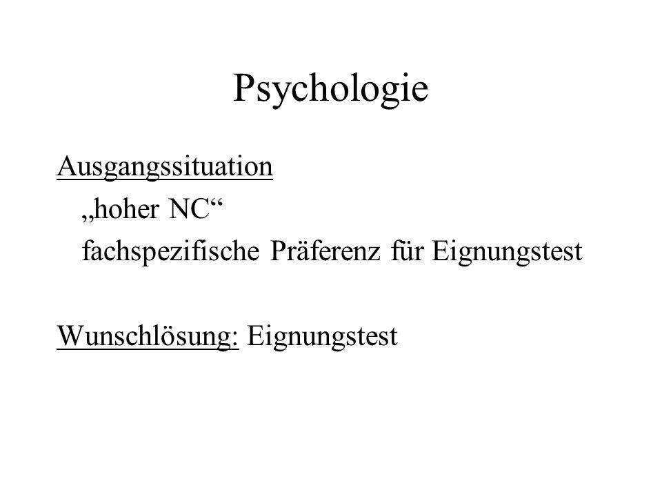 Psychologie Ausgangssituation hoher NC fachspezifische Präferenz für Eignungstest Wunschlösung: Eignungstest