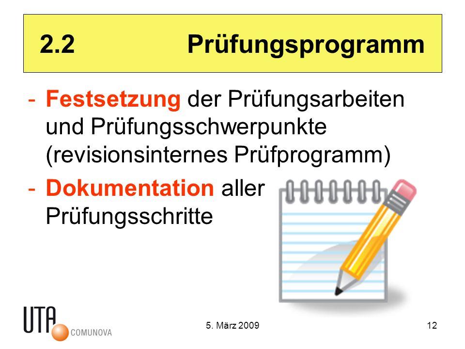 5. März 200912 2.2 Prüfungsprogramm -Festsetzung der Prüfungsarbeiten und Prüfungsschwerpunkte (revisionsinternes Prüfprogramm) -Dokumentation aller P
