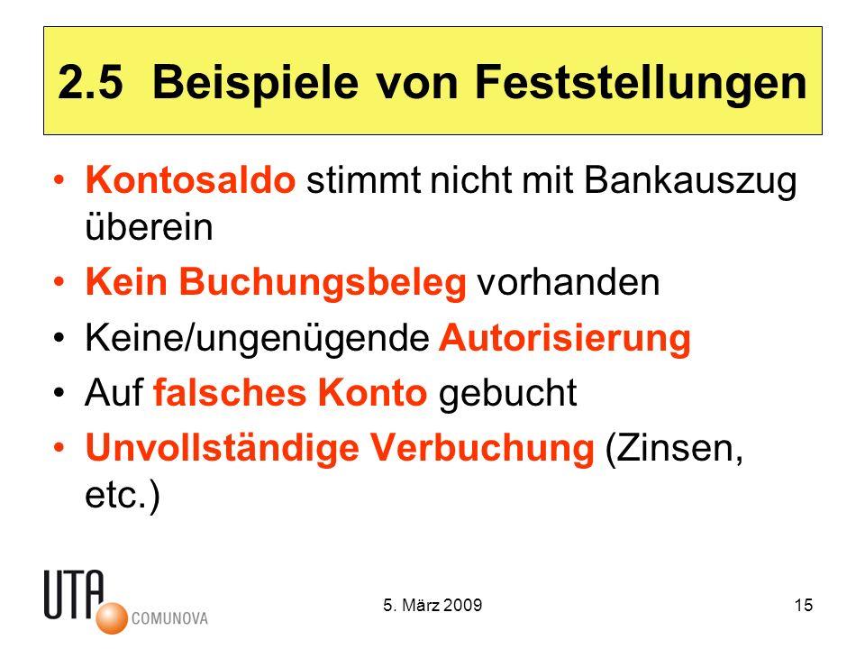 5. März 200915 2.5 Beispiele von Feststellungen Kontosaldo stimmt nicht mit Bankauszug überein Kein Buchungsbeleg vorhanden Keine/ungenügende Autorisi