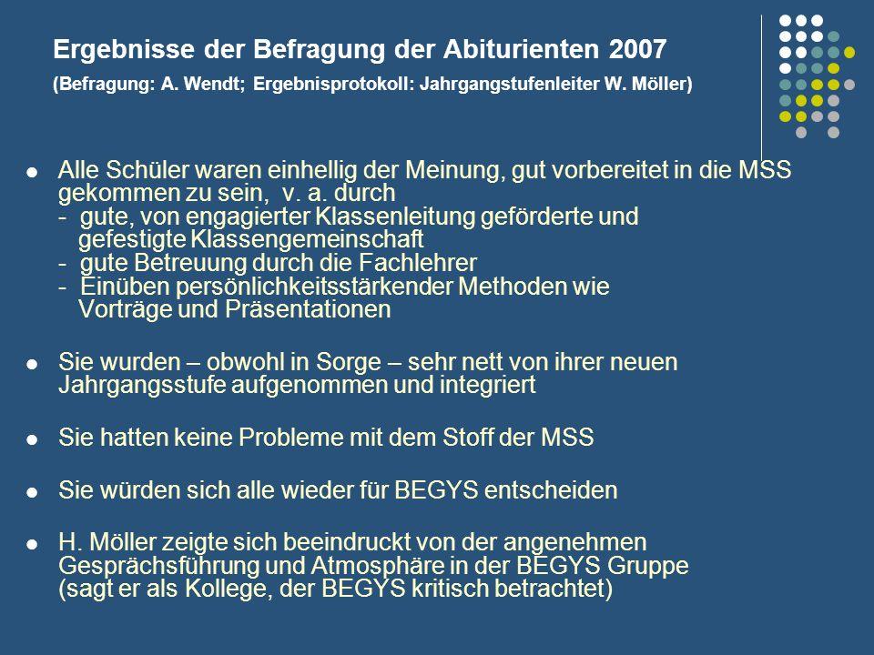Ergebnisse der Befragung der Abiturienten 2007 (Befragung: A. Wendt; Ergebnisprotokoll: Jahrgangstufenleiter W. Möller) Alle Schüler waren einhellig d