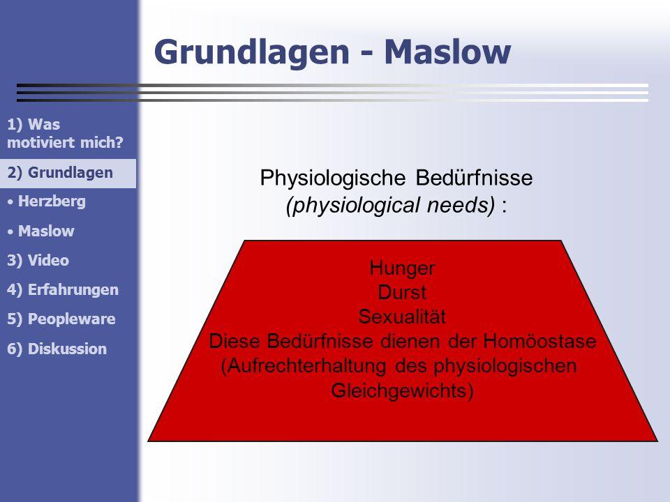 Grundlagen - Maslow Physiologische Bedürfnisse (physiological needs) : Hunger Durst Sexualität Diese Bedürfnisse dienen der Homöostase (Aufrechterhalt