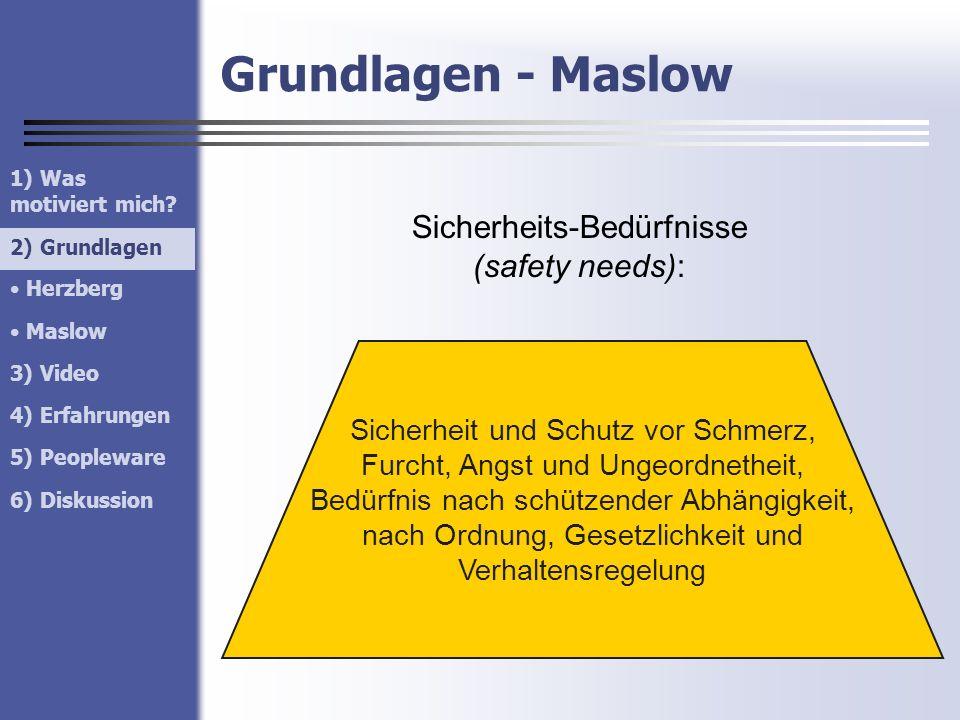 Grundlagen - Maslow 1) Was motiviert mich? 2) Grundlagen Herzberg Maslow 3) Video 4) Erfahrungen 5) Peopleware 6) Diskussion 2) Grundlagen Sicherheits