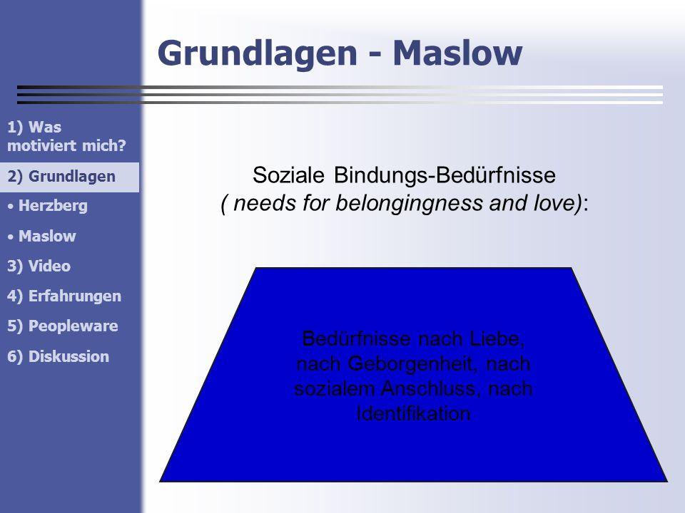 Grundlagen - Maslow 1) Was motiviert mich? 2) Grundlagen Herzberg Maslow 3) Video 4) Erfahrungen 5) Peopleware 6) Diskussion 2) Grundlagen Soziale Bin