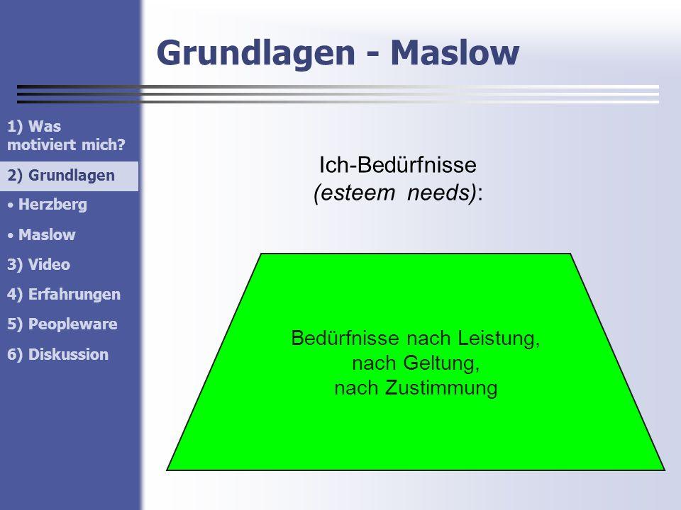 Grundlagen - Maslow 1) Was motiviert mich? 2) Grundlagen Herzberg Maslow 3) Video 4) Erfahrungen 5) Peopleware 6) Diskussion 2) Grundlagen Ich-Bedürfn