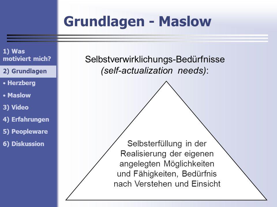 Grundlagen - Maslow 1) Was motiviert mich? 2) Grundlagen Herzberg Maslow 3) Video 4) Erfahrungen 5) Peopleware 6) Diskussion 2) Grundlagen Selbstverwi