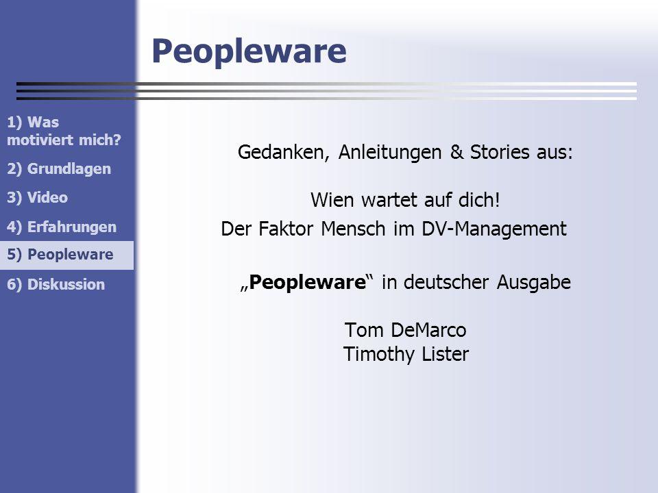 Peopleware Gedanken, Anleitungen & Stories aus: Wien wartet auf dich! Der Faktor Mensch im DV-Management Peopleware in deutscher Ausgabe Tom DeMarco T