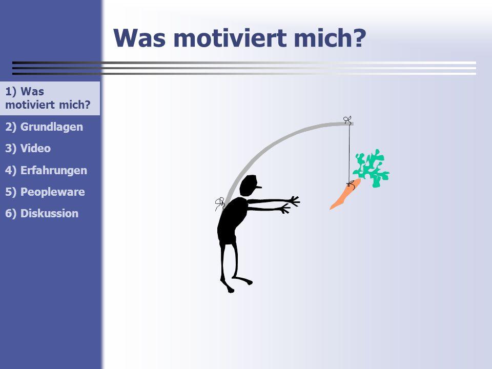 1) Was motiviert mich? 2) Grundlagen 3) Video 4) Erfahrungen 5) Peopleware 6) Diskussion Was motiviert mich? 1) Was motiviert mich?
