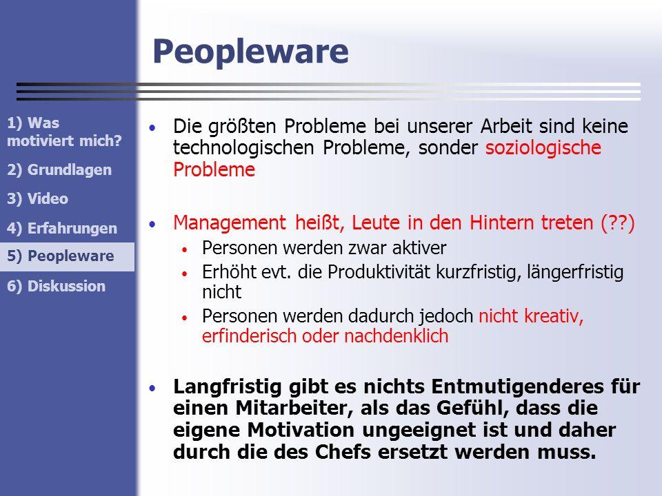 Peopleware 1) Was motiviert mich? 2) Grundlagen 3) Video 4) Erfahrungen 5) Peopleware 6) Diskussion 5) Peopleware Die größten Probleme bei unserer Arb