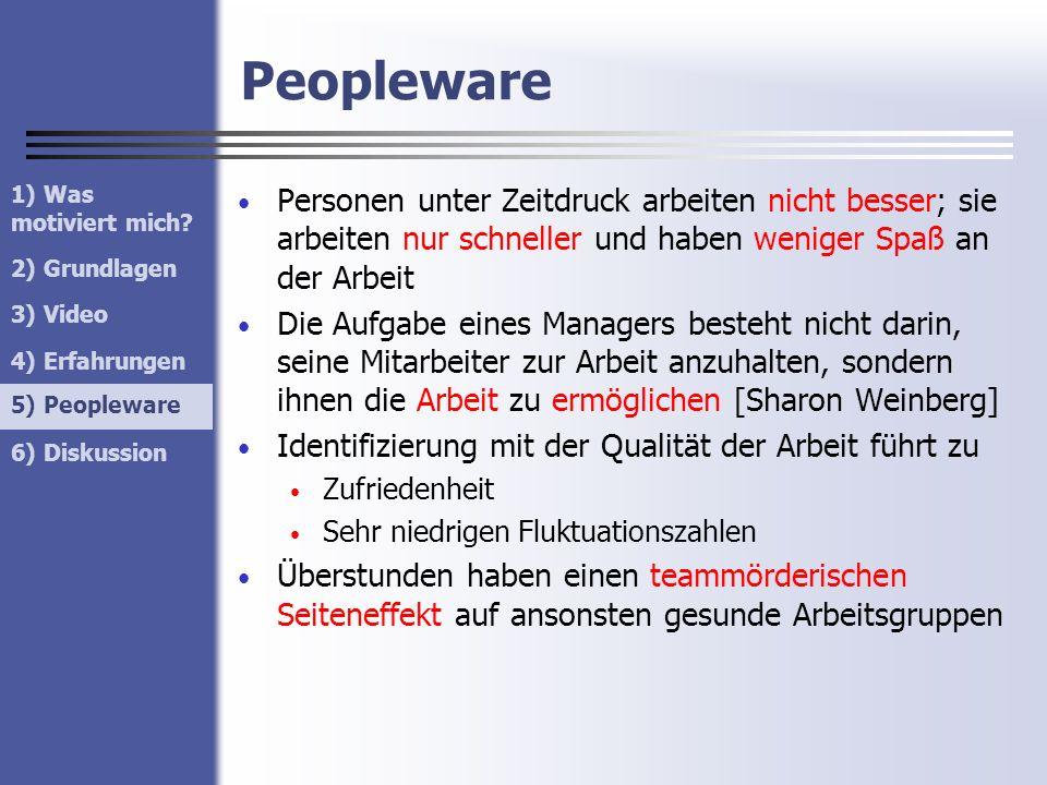 Peopleware Personen unter Zeitdruck arbeiten nicht besser; sie arbeiten nur schneller und haben weniger Spaß an der Arbeit Die Aufgabe eines Managers