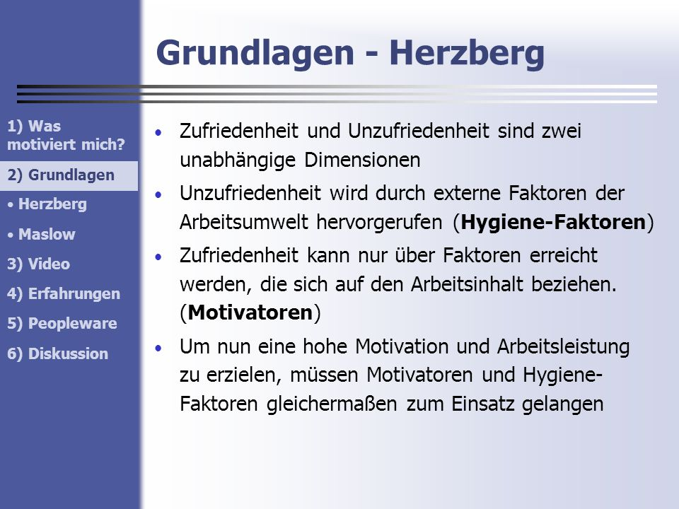 Grundlagen - Herzberg Zufriedenheit und Unzufriedenheit sind zwei unabhängige Dimensionen Unzufriedenheit wird durch externe Faktoren der Arbeitsumwel