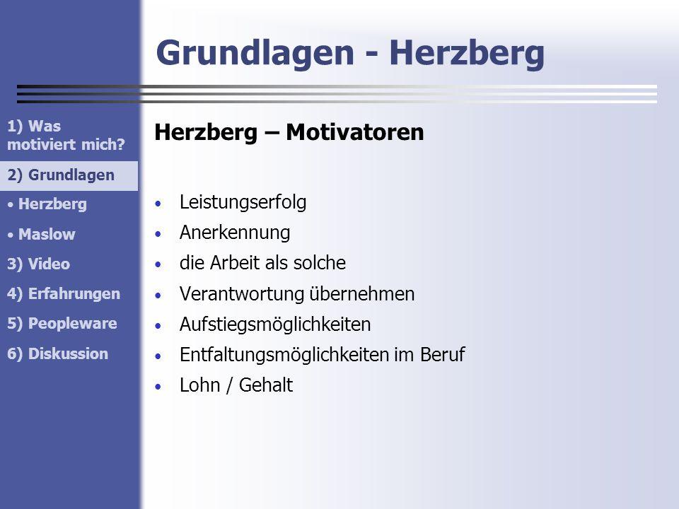 Grundlagen - Herzberg Herzberg – Motivatoren Leistungserfolg Anerkennung die Arbeit als solche Verantwortung übernehmen Aufstiegsmöglichkeiten Entfalt