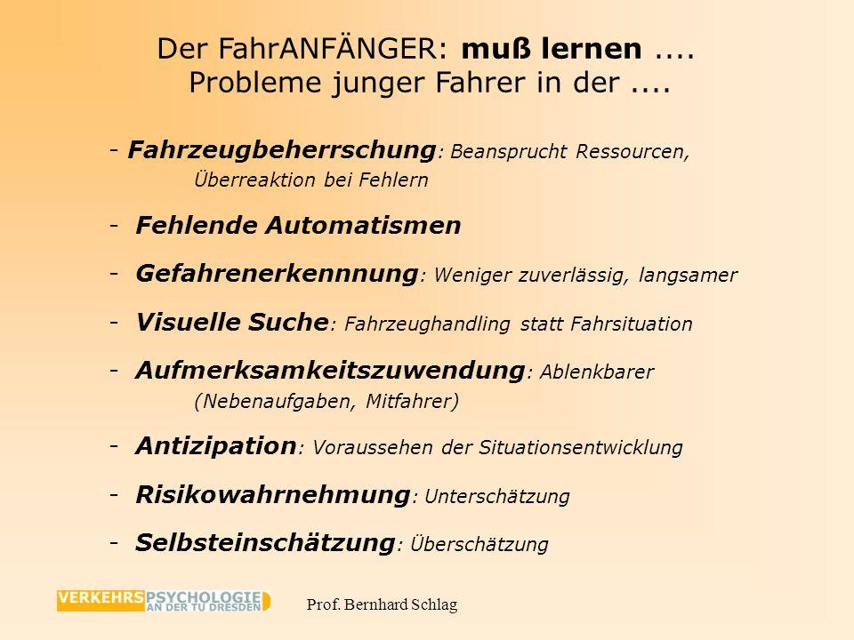 Prof. Bernhard Schlag Exemplarische Kennwerte des Fahrverhaltens auf einem Landstraßenabschnitt Erfahren Jung, risikobereit