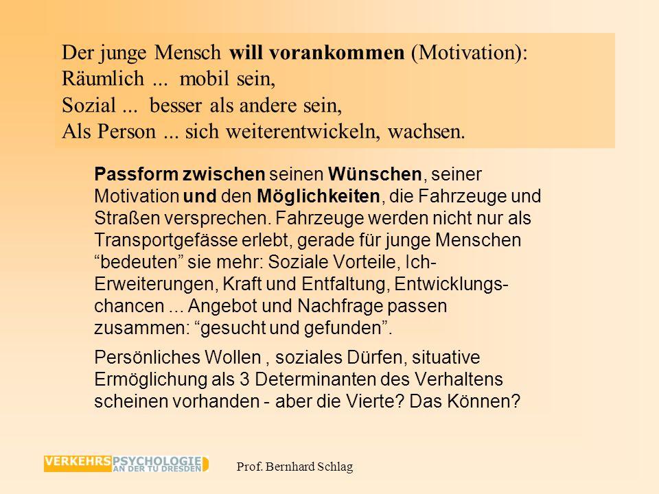 Prof. Bernhard Schlag - Fahrzeugbeherrschung : Beansprucht Ressourcen, Überreaktion bei Fehlern - Fehlende Automatismen - Gefahrenerkennnung : Weniger
