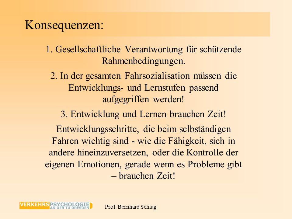 Prof. Bernhard Schlag Die Situation der Fahranfänger in Deutschland 1.Auf sich allein gestellt, oft mit problematischen Vorbildern. 2.Entwicklung von