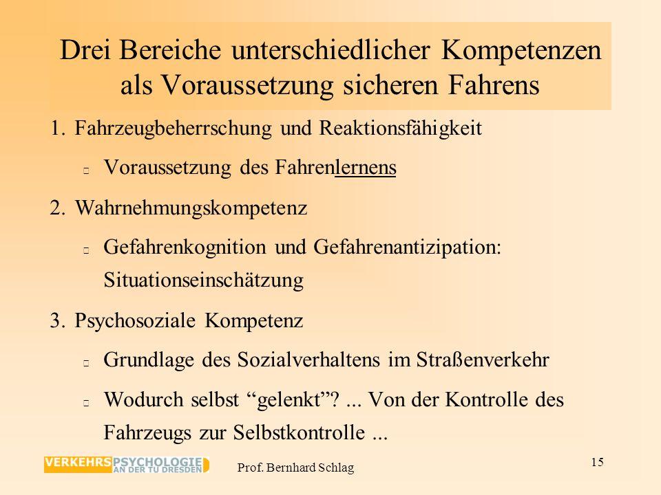 Prof. Bernhard Schlag Konsequenzen: 1. Gesellschaftliche Verantwortung für schützende Rahmenbedingungen. 2. In der gesamten Fahrsozialisation müssen d