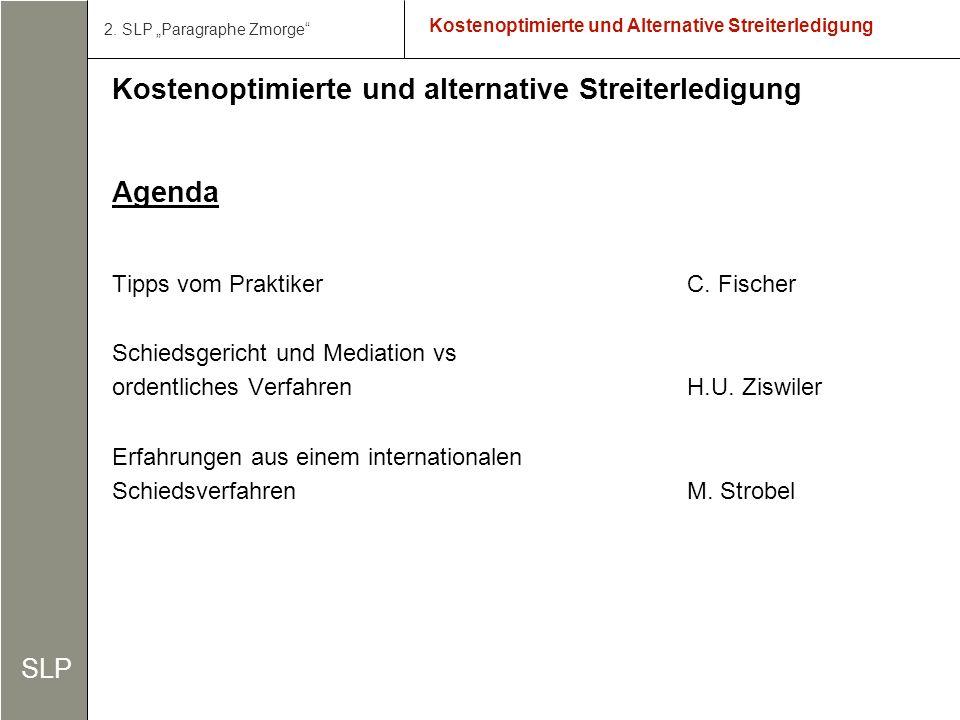 2 Kostenoptimierte und Alternative Streiterledigung Kostenoptimierte und alternative Streiterledigung Agenda Tipps vom Praktiker C.