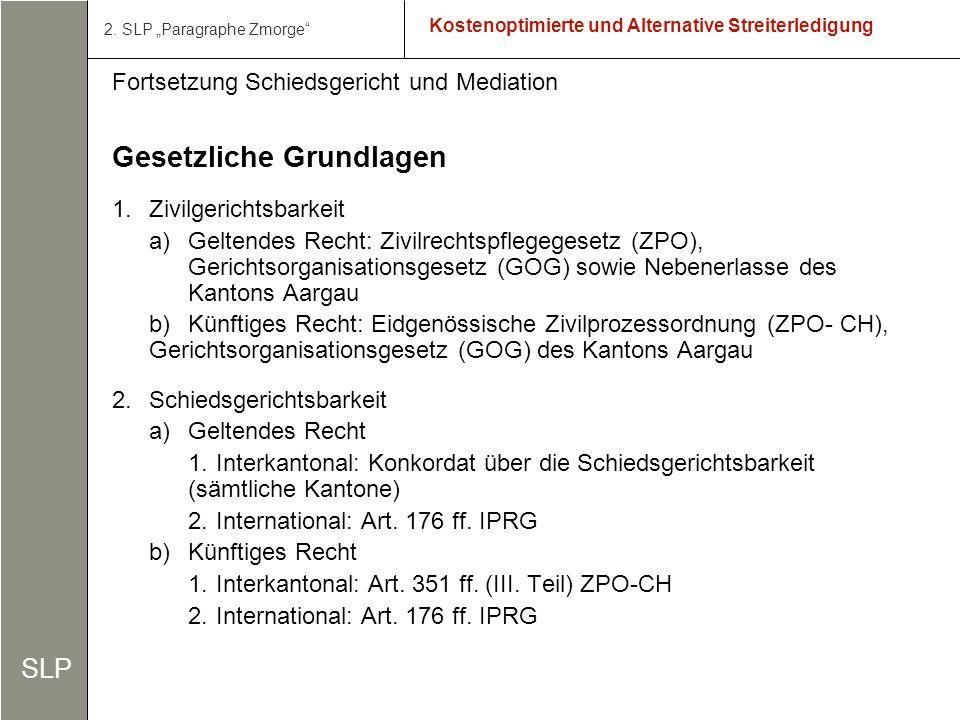 9 Kostenoptimierte und Alternative Streiterledigung Fortsetzung Schiedsgericht und Mediation 3.Mediation a)Geltendes Recht: b)Künftiges Recht: Art.