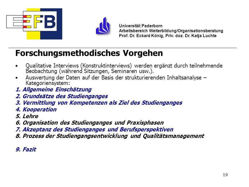 19 Universität Paderborn Arbeitsbereich Weiterbildung/Organisationsberatung Prof. Dr. Eckard König, Priv. doz. Dr. Katja Luchte Forschungsmethodisches