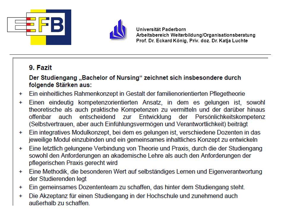 28 Universität Paderborn Arbeitsbereich Weiterbildung/Organisationsberatung Prof. Dr. Eckard König, Priv. doz. Dr. Katja Luchte