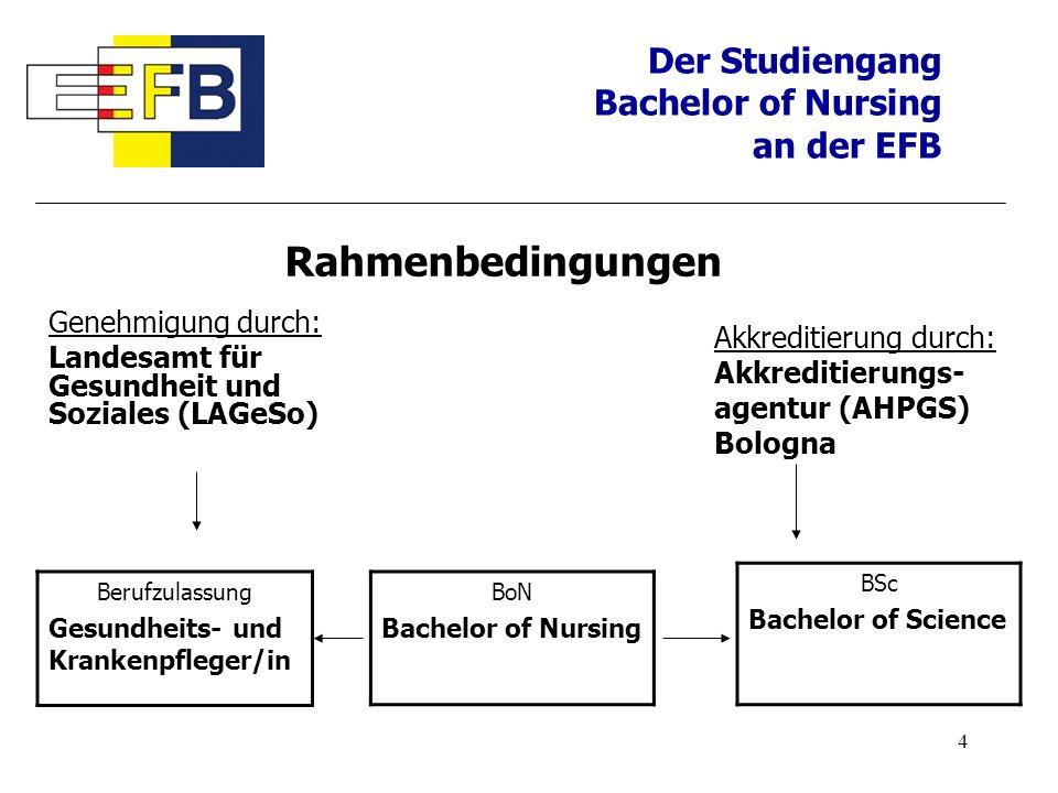 5 Der Studiengang Bachelor of Nursing an der EFB Modellstudiengang erster grundständiger dualer Studiengang Bachelor of Nursing in Deutschland integriertes, hochschuldidaktisches Konzept => Verknüpfung von theoretischer Hochschulausbildung und pflegepraktischer Berufsausbildung