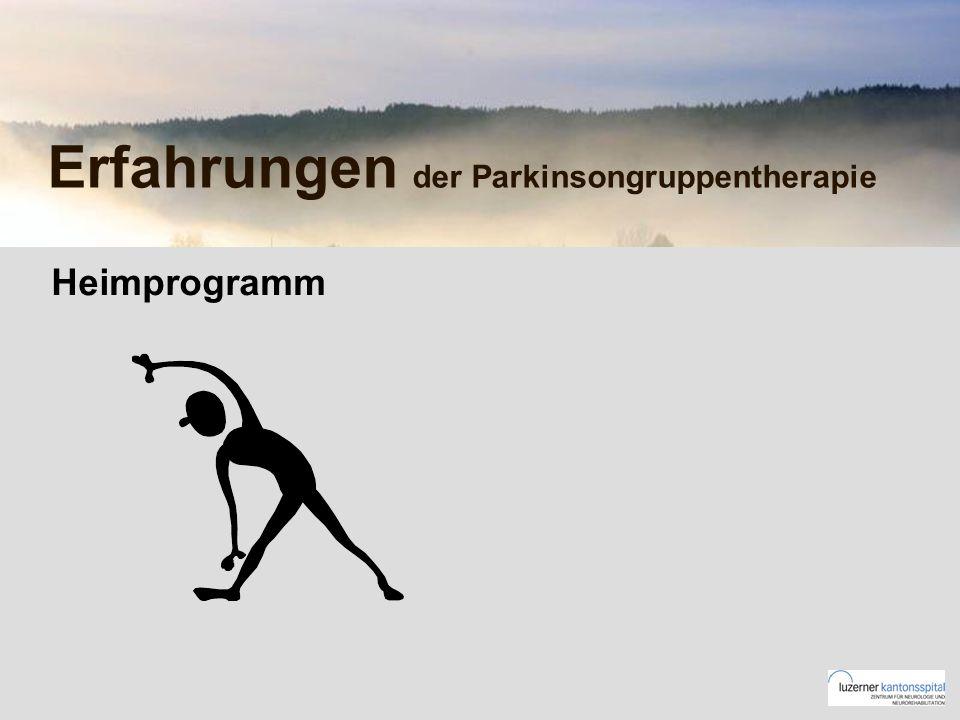 Erfahrungen der Parkinsongruppentherapie Heimprogramm