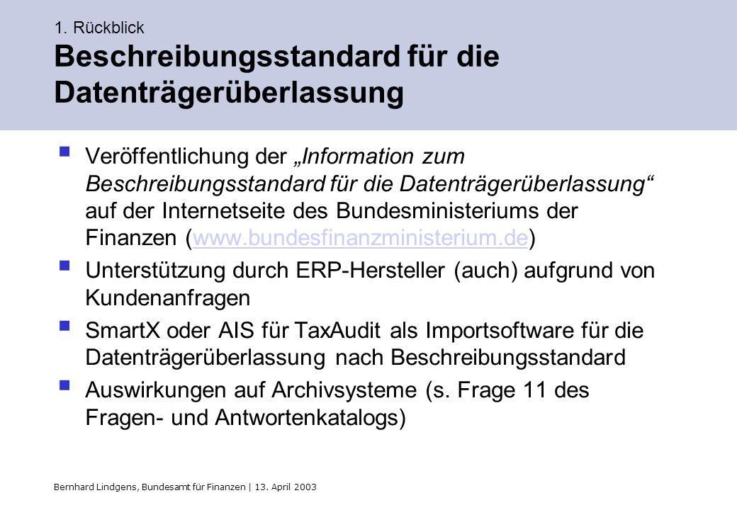 Bernhard Lindgens, Bundesamt für Finanzen | 13. April 2003 1. Rückblick Beschreibungsstandard für die Datenträgerüberlassung Veröffentlichung der Info