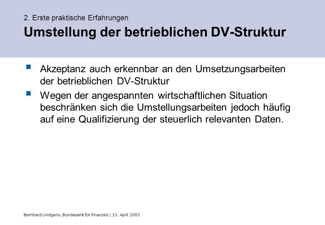 Bernhard Lindgens, Bundesamt für Finanzen | 13. April 2003 2. Erste praktische Erfahrungen Umstellung der betrieblichen DV-Struktur Akzeptanz auch erk