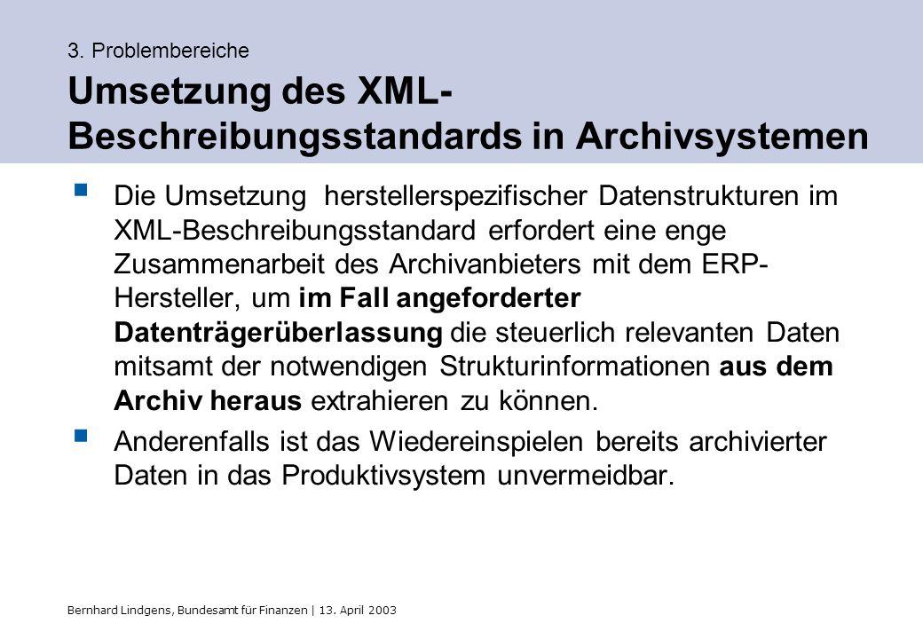 Bernhard Lindgens, Bundesamt für Finanzen | 13. April 2003 3. Problembereiche Umsetzung des XML- Beschreibungsstandards in Archivsystemen Die Umsetzun