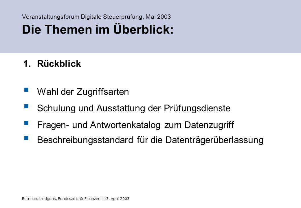 Bernhard Lindgens, Bundesamt für Finanzen | 13. April 2003 Veranstaltungsforum Digitale Steuerprüfung, Mai 2003 Die Themen im Überblick: 1.Rückblick W