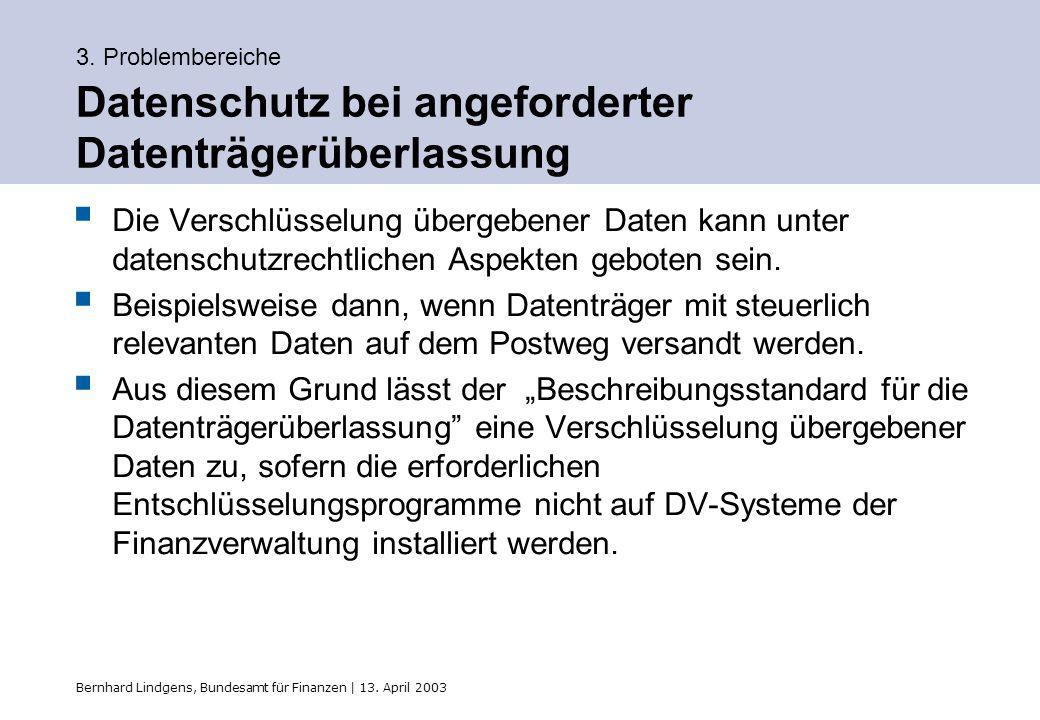 Bernhard Lindgens, Bundesamt für Finanzen | 13. April 2003 3. Problembereiche Datenschutz bei angeforderter Datenträgerüberlassung Die Verschlüsselung