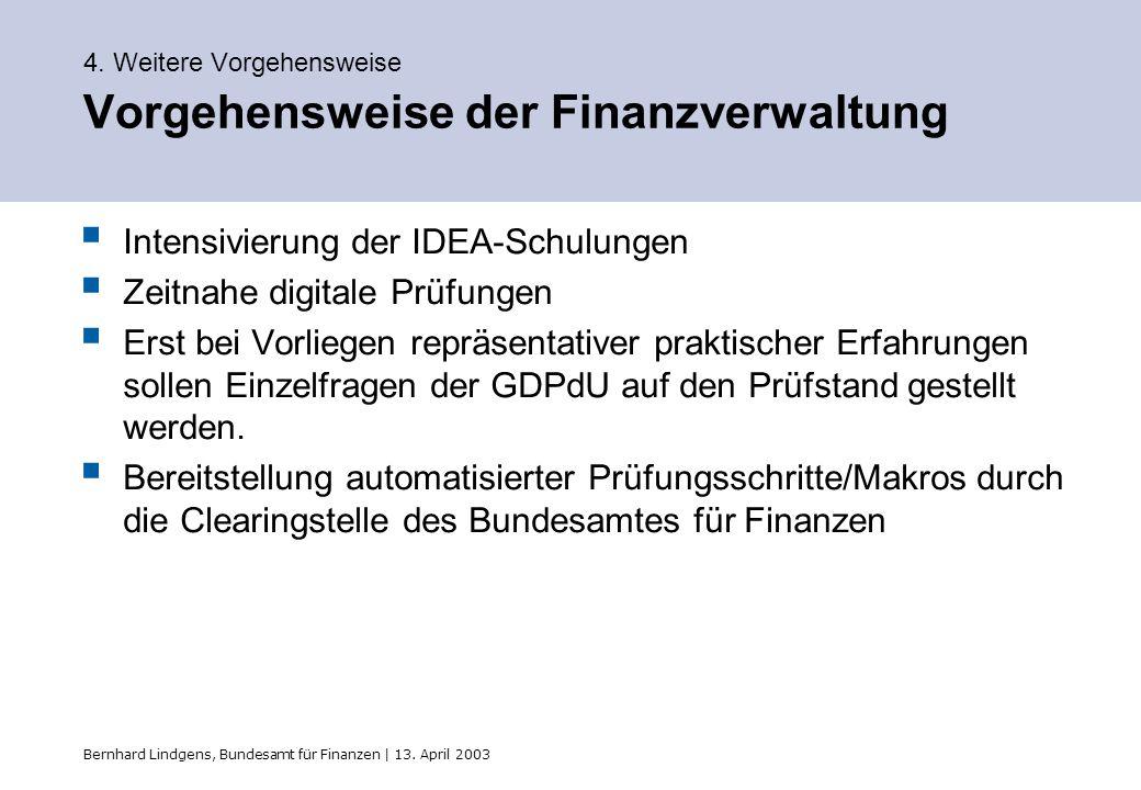 Bernhard Lindgens, Bundesamt für Finanzen | 13. April 2003 4. Weitere Vorgehensweise Vorgehensweise der Finanzverwaltung Intensivierung der IDEA-Schul