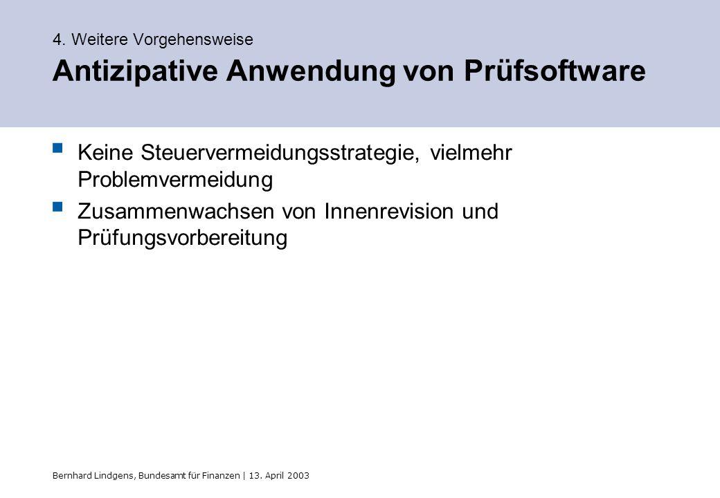 Bernhard Lindgens, Bundesamt für Finanzen | 13. April 2003 4. Weitere Vorgehensweise Antizipative Anwendung von Prüfsoftware Keine Steuervermeidungsst