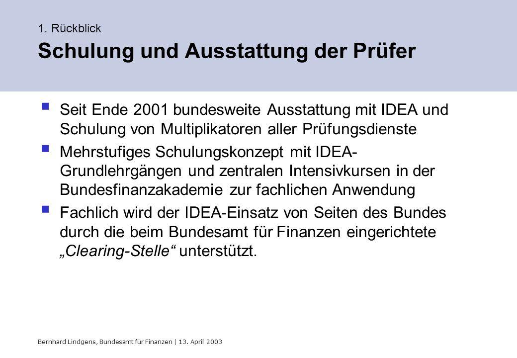Bernhard Lindgens, Bundesamt für Finanzen | 13. April 2003 1. Rückblick Schulung und Ausstattung der Prüfer Seit Ende 2001 bundesweite Ausstattung mit