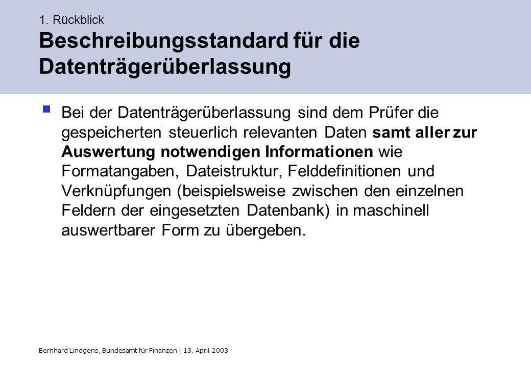 Bernhard Lindgens, Bundesamt für Finanzen | 13. April 2003 1. Rückblick Beschreibungsstandard für die Datenträgerüberlassung Bei der Datenträgerüberla