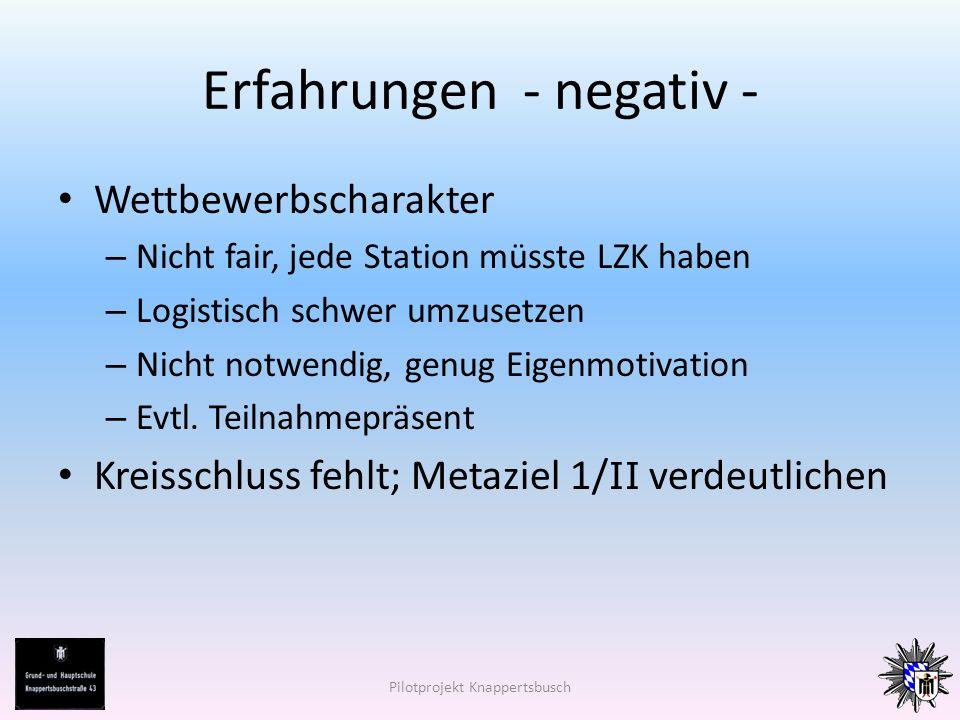 Erfahrungen - negativ - Wettbewerbscharakter – Nicht fair, jede Station müsste LZK haben – Logistisch schwer umzusetzen – Nicht notwendig, genug Eigenmotivation – Evtl.