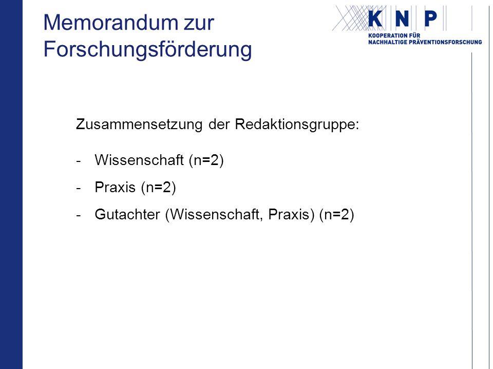 Zusammensetzung der Redaktionsgruppe: -Wissenschaft (n=2) -Praxis (n=2) -Gutachter (Wissenschaft, Praxis) (n=2) Memorandum zur Forschungsförderung