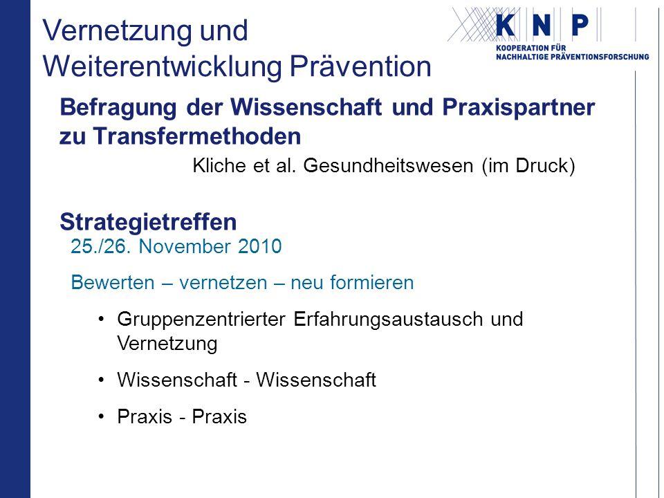 Befragung der Wissenschaft und Praxispartner zu Transfermethoden Kliche et al.