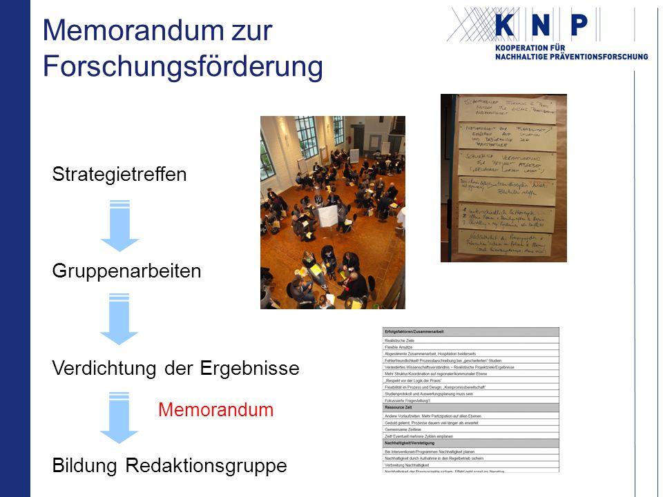 Strategietreffen Gruppenarbeiten Verdichtung der Ergebnisse Bildung Redaktionsgruppe Memorandum zur Forschungsförderung Memorandum