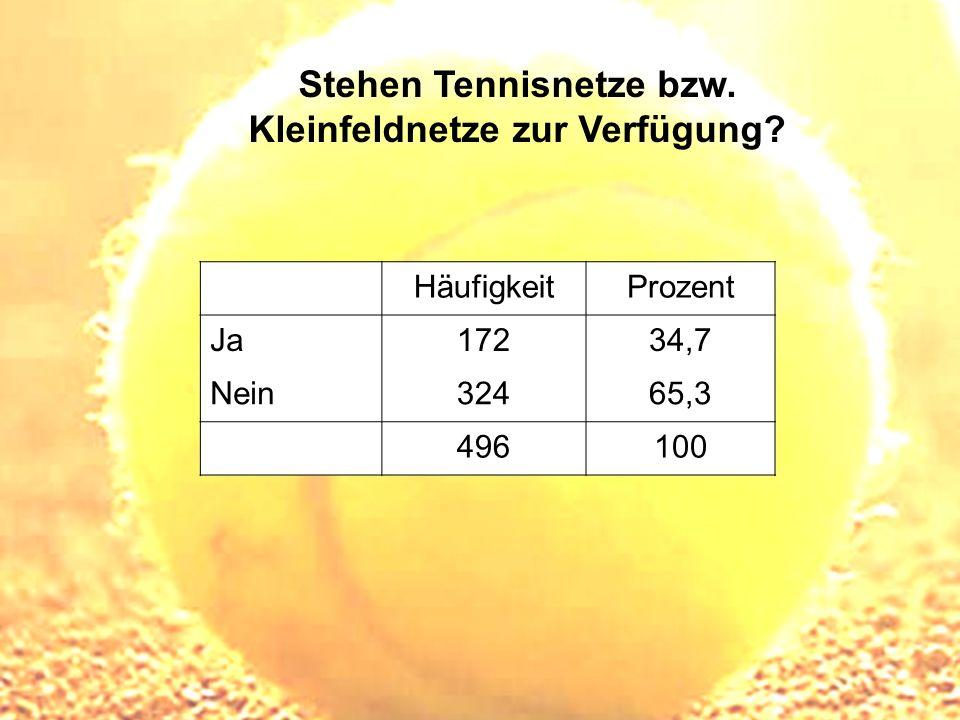 Stehen Tennisnetze bzw. Kleinfeldnetze zur Verfügung? HäufigkeitProzent Ja17234,7 Nein32465,3 496100