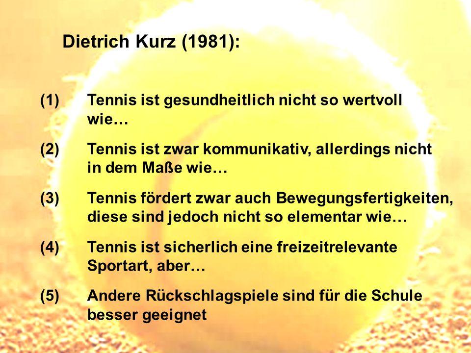 Dietrich Kurz (1981): (1) Tennis ist gesundheitlich nicht so wertvoll wie… (2) Tennis ist zwar kommunikativ, allerdings nicht in dem Maße wie… (3) Ten