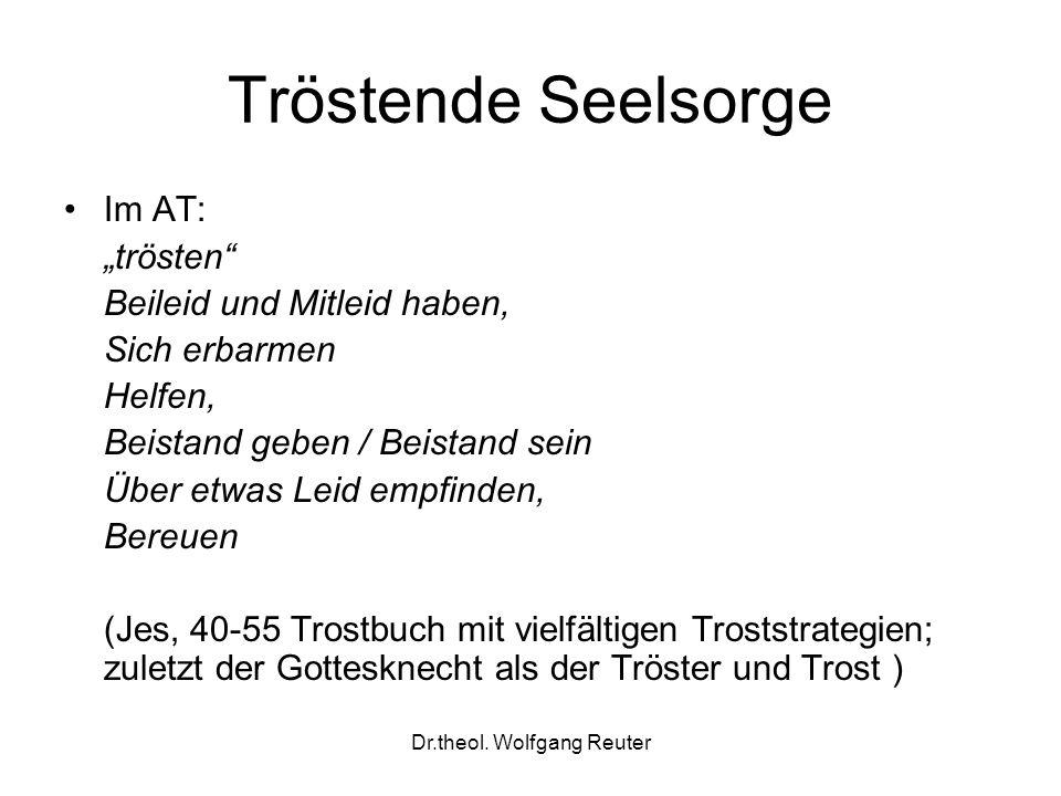 Dr.theol. Wolfgang Reuter Tröstende Seelsorge Im AT: trösten Beileid und Mitleid haben, Sich erbarmen Helfen, Beistand geben / Beistand sein Über etwa