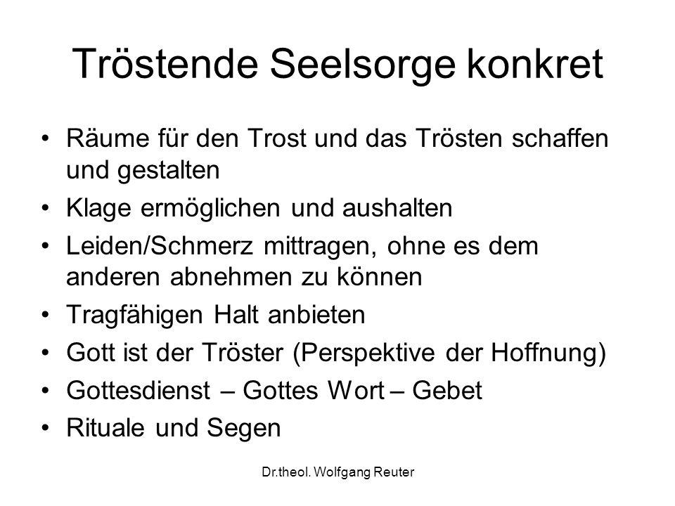 Dr.theol. Wolfgang Reuter Tröstende Seelsorge konkret Räume für den Trost und das Trösten schaffen und gestalten Klage ermöglichen und aushalten Leide