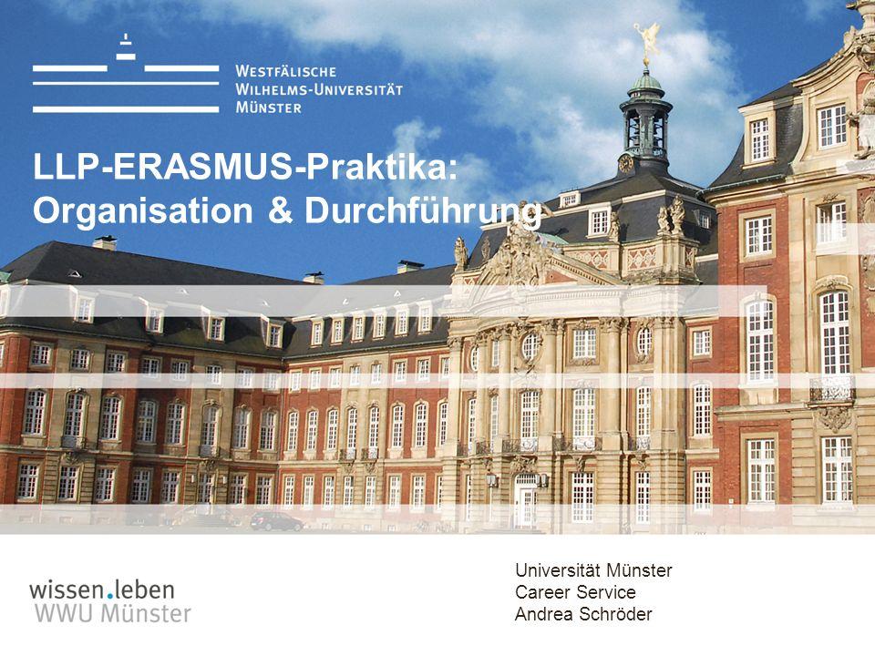 Universität Münster Career Service Andrea Schröder LLP-ERASMUS-Praktika: Organisation & Durchführung